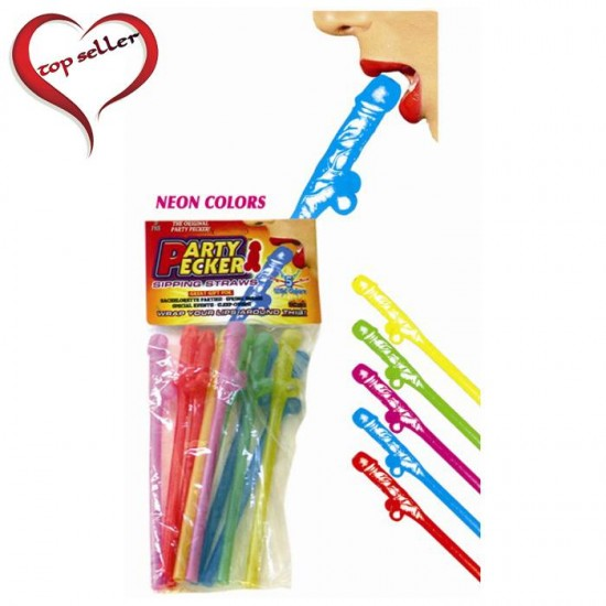 Hott Products 5 Assorted Neon Colors Party Pecker Sipping Straws 10/Bag