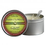 Earthly Body 6.8 oz. Round Tin Massage Candle Naked in the Woods