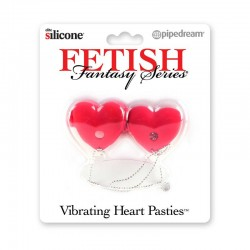 Pipedream Products Fetish Fantasy Vibrating Heart Pasties Red