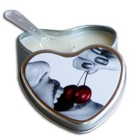 Earthly Body 4.7 oz. Heart Tin Edible Massage Candle Cherry